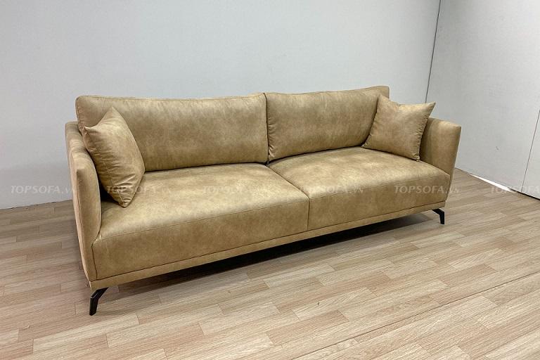 Mẫu sofa văng 1m6 bọc da với màu sắc lạ mắt phù hợp với những không gian theo phong cách hiện đại, thể hiện cá tính riêng của gia chủ. Với mẫu sofa này bạn có thể kết hợp với bàn tròn làm điểm nhấn cho phòng khách.