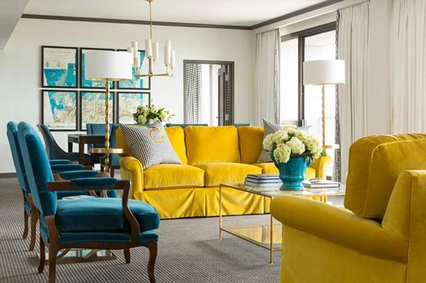 Sofa văng vàng rực rỡ sẽ là sự lựa chọn tuyệt vời nếu bạn muốn tăng thêm sức hút và sự nổi bật cho căn phòng