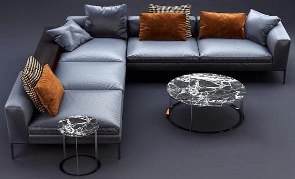Bộ sofa da công nghiệp Nhật bản có thiết kế đơn giản kiểu dáng chữ L rộng rãi. Gam màu xanh ngọc bắt mắt làm cho không gian phòng khách thêm phần sang trọng.
