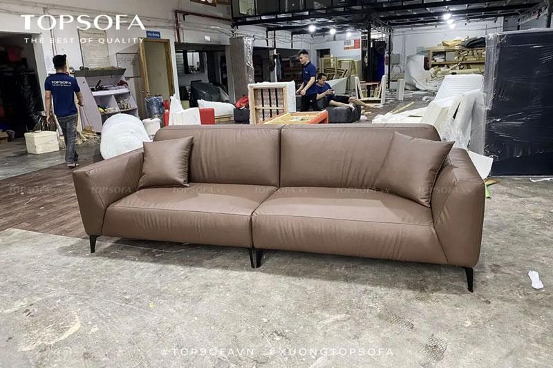mặt trước sofa văng da TS347