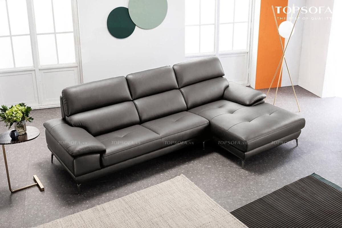 sofa góc da TS236 bọc da màu ghi đen