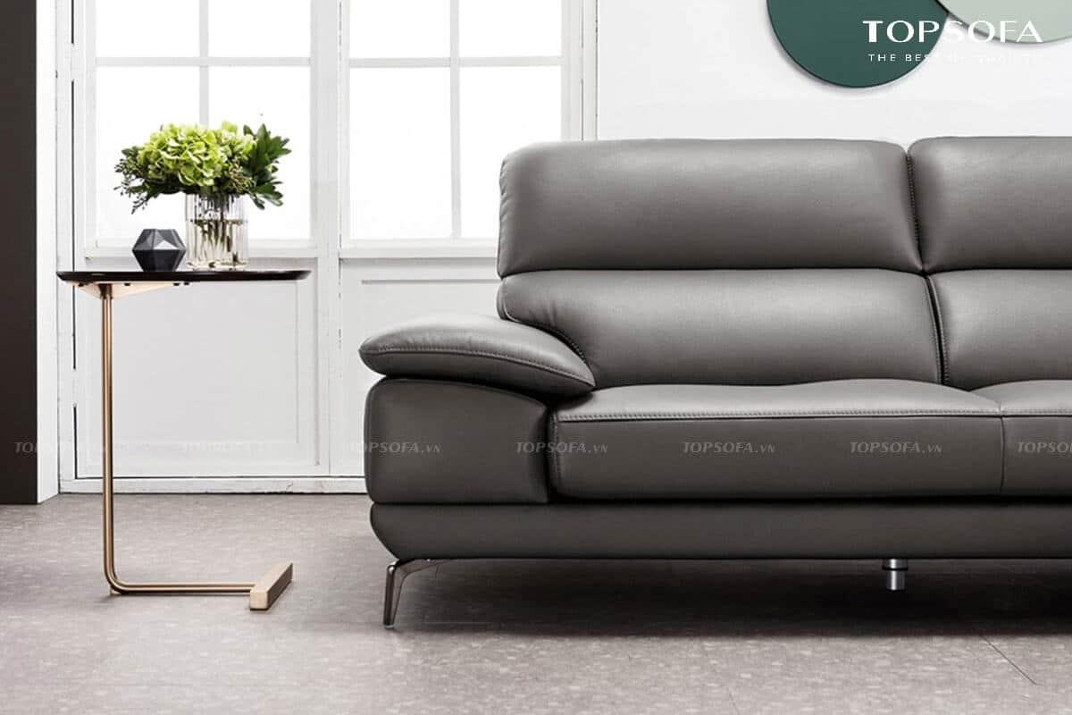 sofa góc da TS236 chân ghế inox vững chãi