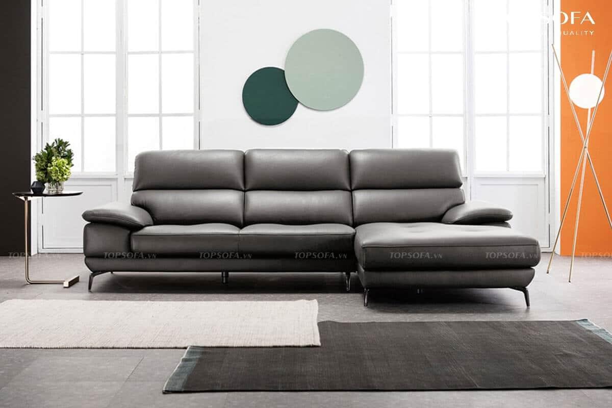 sofa góc da TS236 thiết kế tựa lưng êm ái