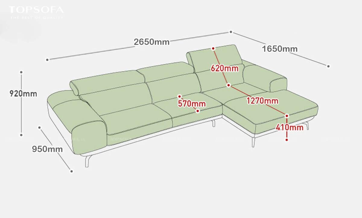 sofa góc da TS237 kích thước nhỏ gọn