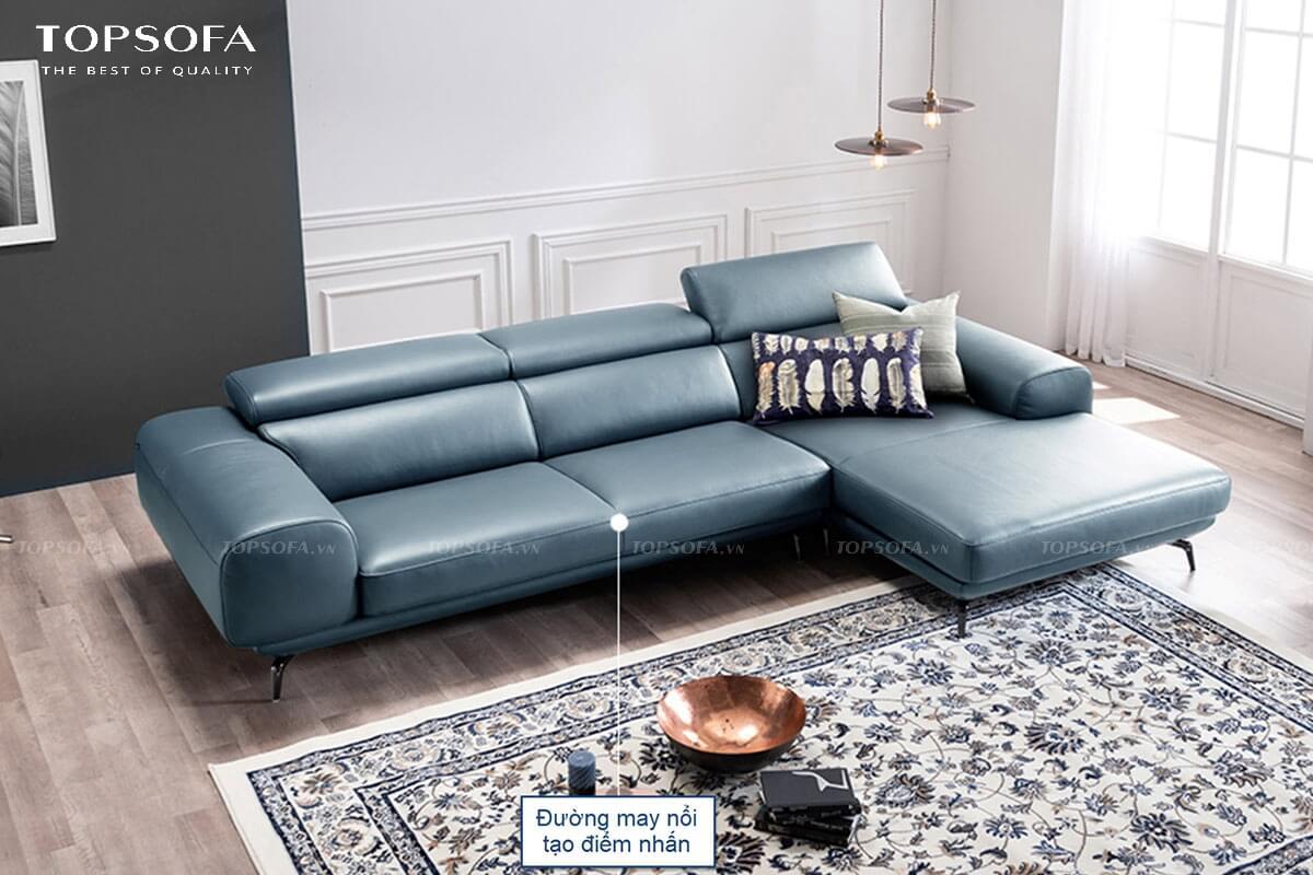 sofa góc da TS237 thiết kế đường may nổi viền
