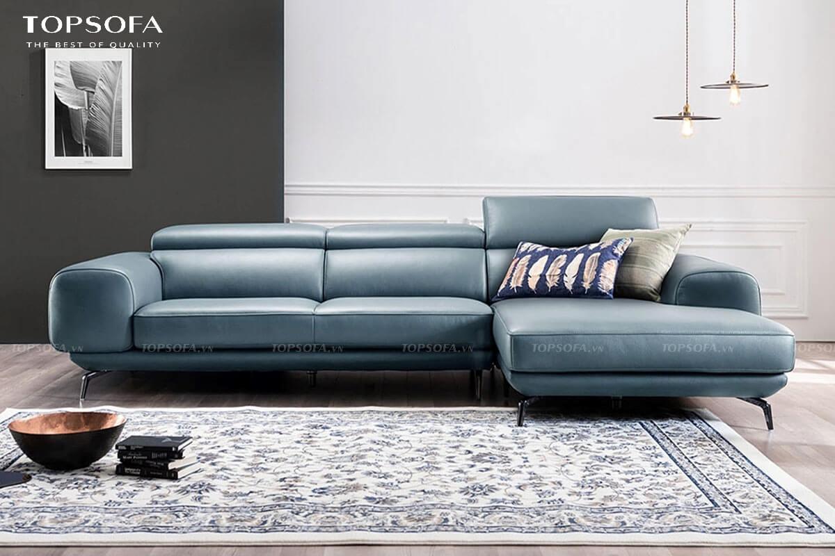 Sofa góc L nhỏ sở hữu tông màu xanh dương nổi bật cùng chất liệu da mềm mịn mang lại vẻ đẹp đẳng cấp cho không gian.