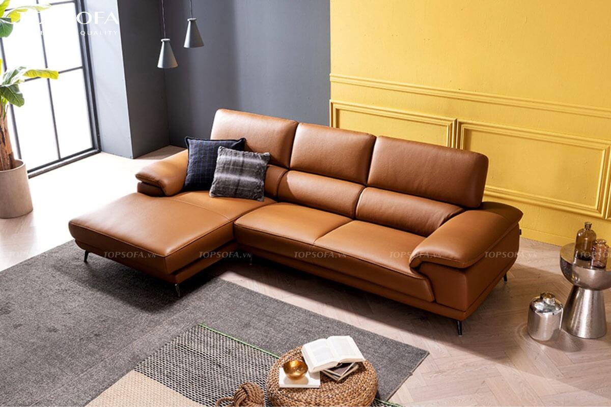 sofa góc da TS238 màu nâu da bò