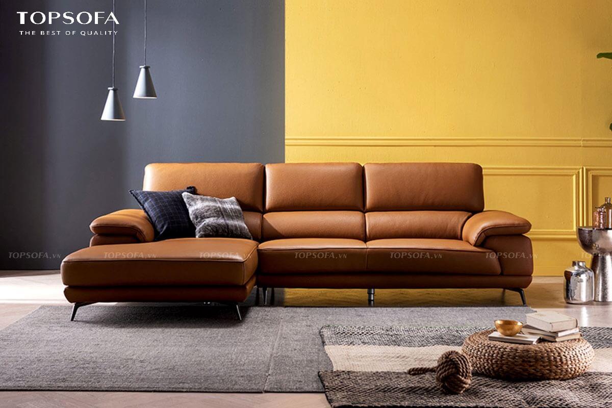 sofa góc da TS238 thiết kế tựa lưng êm ái