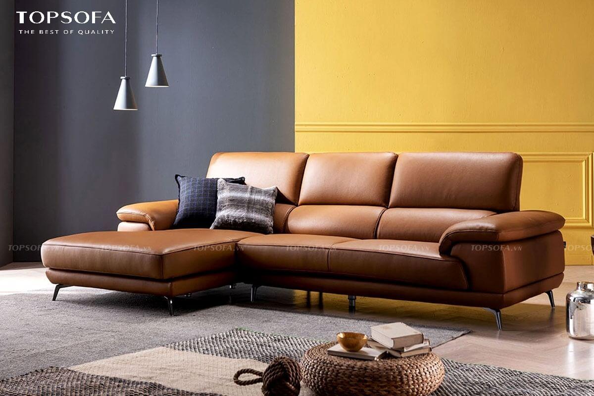Hệ chân nâng inox hơi choãi ra tôn cao dáng giúp cho mẫu ghế sofa góc TS238 thêm chắc chắn và phù hợp với phòng khách chung cư nhỏ