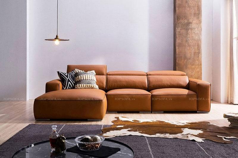 Gam màu nâu da bò giúp sofa góc L nhỏ bên phải mang lại vẻ đẹp mới lạ, phong cách mà vô cùng hiện đại, trẻ trung cho căn phòng.