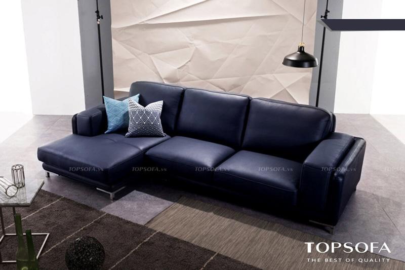 Chân nâng mạ bạc sáng bóng giúp nổi bật phần da bọc và giúp sofa góc nhỏ gọn TS246 thêm sang trọng, quý phái, vững chãi hơn
