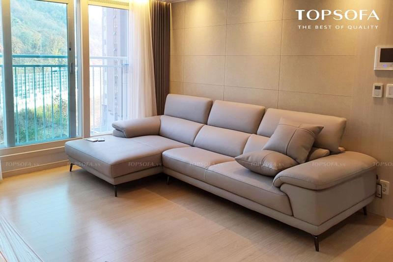sofa góc da TS249 trong phòng khách