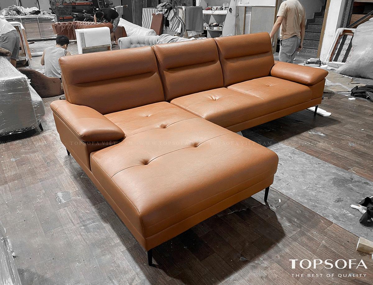 Sofa góc da TS250 vừa được hoàn thiện tại xưởng sản xuất