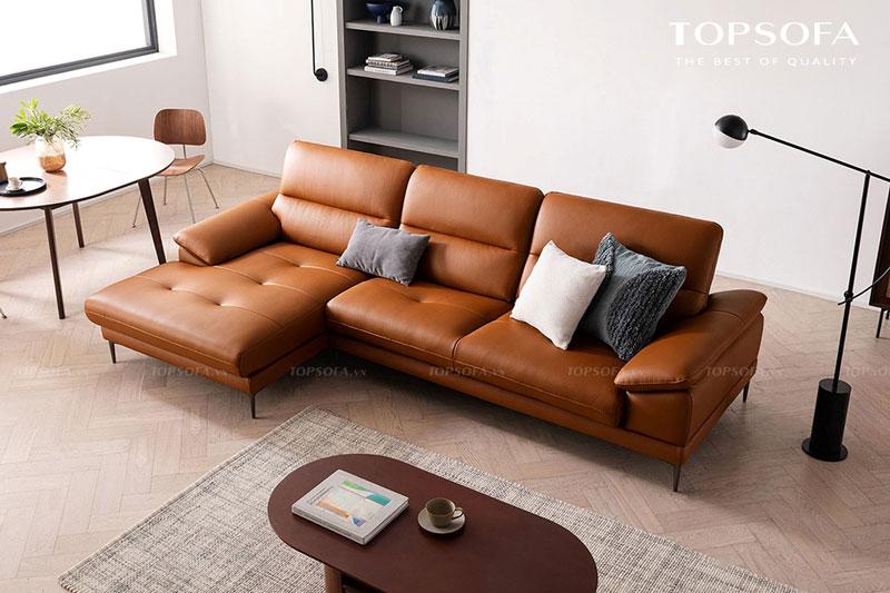 Chân nâng bằng kim loại sơn đen nhỏ nhắn tôn thêm dáng và giúp cho mẫu sofa góc nhỏ gọn trông thanh cảnh hơn để phù hợp với những căn phòng có diện tích hạn chế