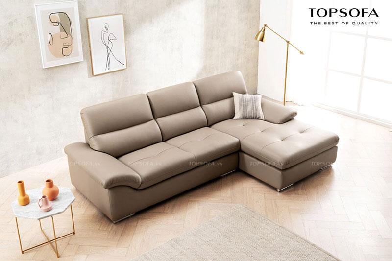 Sofa góc nhỏ gọn có chiều dài 2,6m với phần lưng thiết kế tối giản và màu ghi nhạt lịch sự