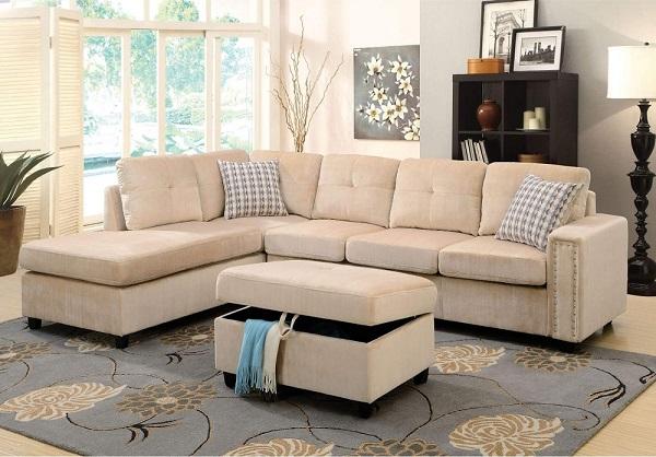 Vải be nhung nhã nhặn của mẫu sofa góc trái này mang đến cho căn phòng sự sang trọng, vẻ đẹp đương đại hoàn hảo và sự thoải mái tối ưu cho người dùng