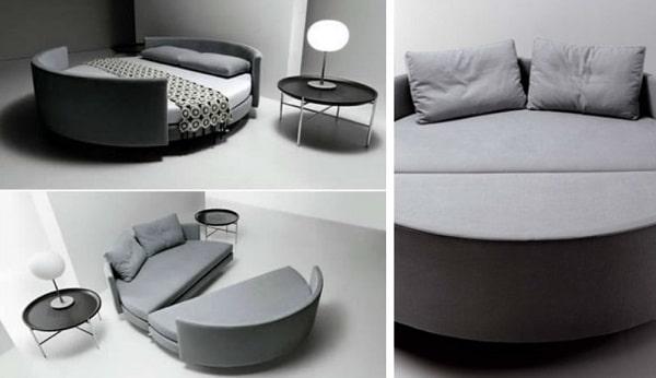Thiết kế sofa góc tròn kết hợp giường, đa chức năng sẽ giúp mang đến cho bạn cuộc sống tiện nghi hơn. Khi tách ra, bộ sofa này sẽ thành 2 chiếc ghế sofa góc tròn bọc vải màu xám nền nã, ấn tượng và cá tính. Khi ghép lại, bạn sẽ có một chiếc giường hình tròn lớn đủ để 1 – 2 người nằm trên đó