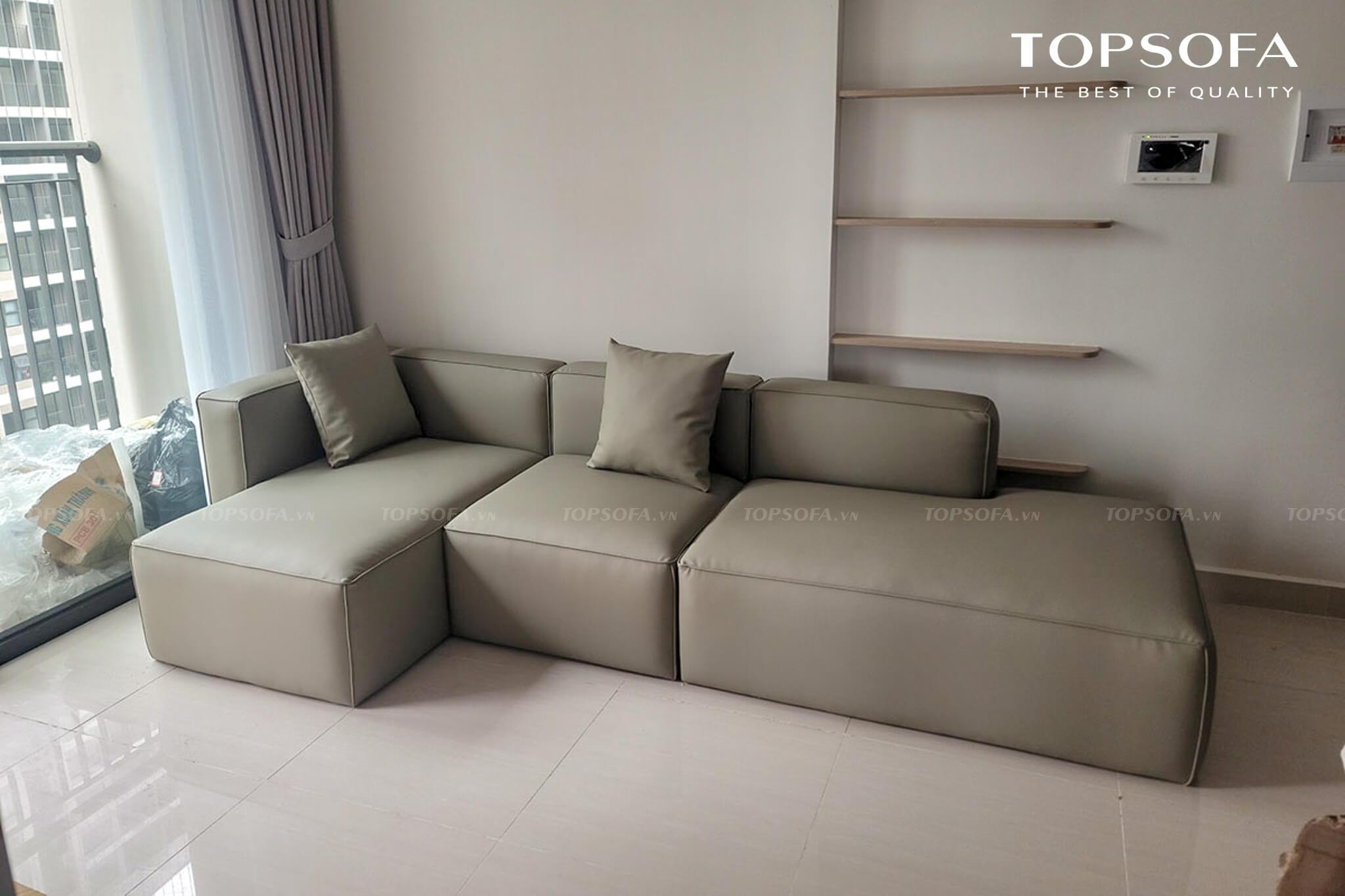 Đệm ngồi sofa góc 2m2 TS248 bằng mút Inoac Nhật Bản, được thiết kế dày dặn hơn hẳn phần lưng giúp mang lại sự êm ái và cảm giác thoải mái tối đa cho người ngồi
