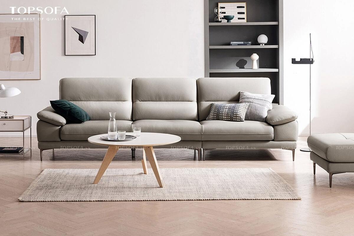 Do có thiết kế hình chữ I nhỏ gọn, chất liệu da sang trọng, màu xám trang nhã nên mẫu sofa này rất dễ bày biện trong những căn phòng khách chung cư hiện đại