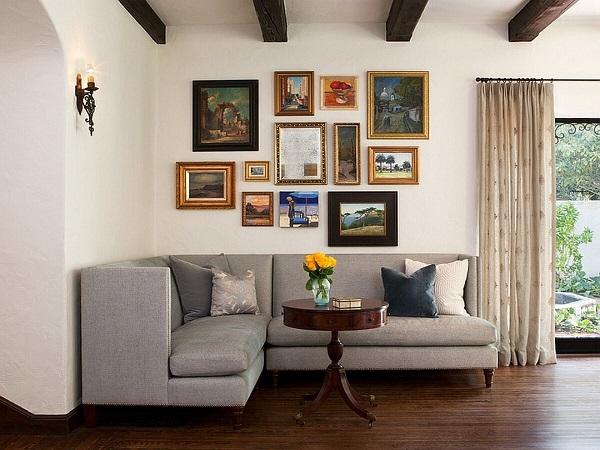 Mẫu sofa góc vuông 2m2 màu xám vừa khít với mọi góc phòng hình chữ nhật