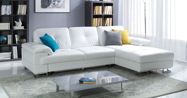 Sofa góc chữ L giúp không gian trở nên ấn tượng, hiện đại mà tiện nghi.