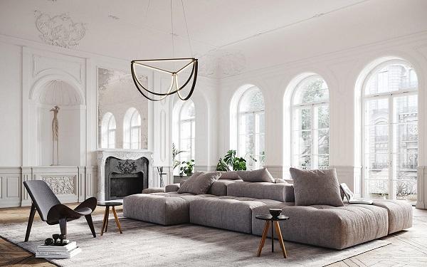 Sản phẩm được thiết kế không chân, toàn bộ mặt dưới của sofa tiếp xúc trực tiếp với sàn nhà tăng thêm trải nghiệm thoải thoái và an toàn khi sử dụng ghế. Màu muối tiêu nhã nhặn phù hợp với hầu hết không gian phòng, luôn nổi bật với vẻ trẻ trung.