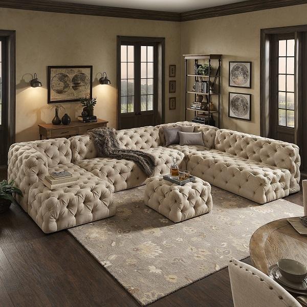 Sofa có thiết kế hình chữ U này cùng kiểu dáng nhã nhặn, thanh lịch, là sản phẩm hoàn hảo cho những không gian yên tĩnh, ấm cúng