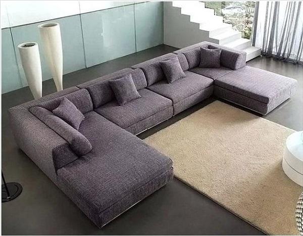 Mẫu sofa màu tím mệnh Hỏa, với thiết kế vải trơn hiện đại, màu sắc vừa tinh tế vừa dễ nhìn, phù hợp với bất kỳ không gian nào.