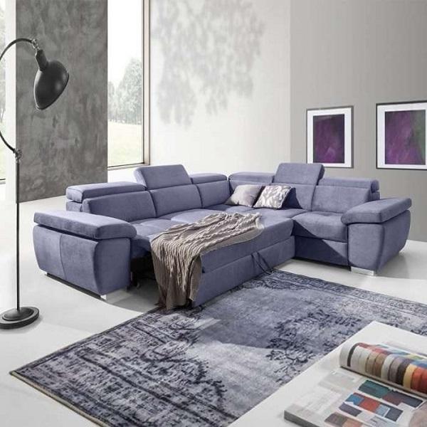 Gối tựa đầu có thể điều chỉnh linh hoạt, nệm ghế kéo ra thành giường chính là những ưu điểm nổi bật của mẫu sofa góc giường kéo đa năng màu tím phấn này