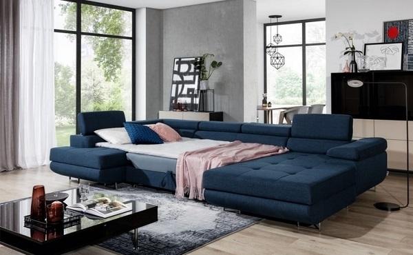 """Chỉ cần kéo nhẹ phần đệm ngồi ra là bạn có thể """"hô biến"""" sofa góc chữa U thành một chiếc giường rộng, sang trọng, lịch lãm và tiện dụng"""