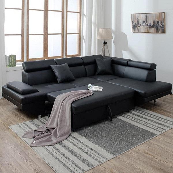 Nếu muốn nghỉ ngơi, bạn chỉ cần mở phần đệm ghế sofa ra là có ngay một chiếc giường êm ái, vững chãi. Nếu muốn điều chỉnh tư thế tựa đầu thì chỉ cần điều chỉnh độ cao của gối tựa