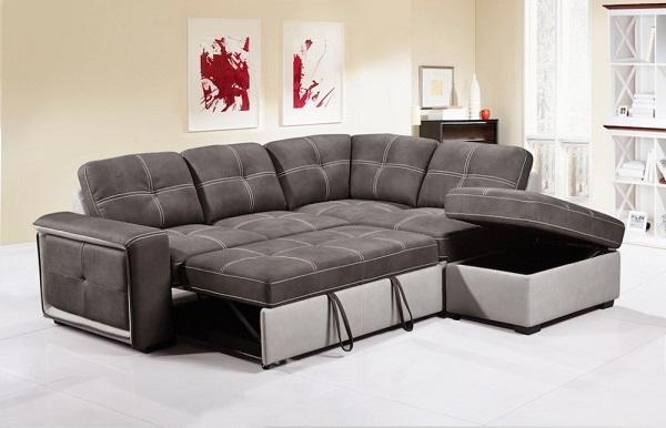 Mẫu sofa góc giường này được đánh giá là mẫu sofa giàu tiện ích nhờ vào thiết kế đa năng, có thể mở đệm ra biến thành giường và hộc chứa đồ nằm sâu dưới lớp đệm tiện dụng