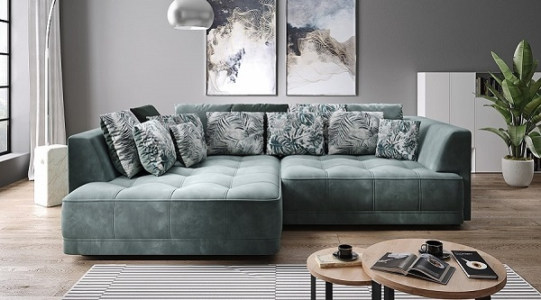 Với phần đệm ngồi to, rộng bằng bọt cao su mềm dẻo, dày dặn, bọc vải mềm mại, tạo ô và nhấn chấm trang trí tinh tế; độ sâu ghế có thể điều chỉnh bằng điện, mẫu sofa màu ghi xanh đồng thời có thể vừa là chỗ ngồi, chỗ nghỉ lý tưởng