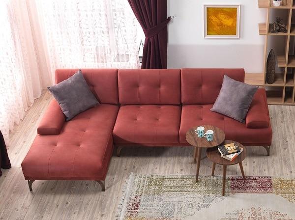 Mẫu sofa góc màu đỏ này đem đến một không gian tinh tế, thanh lịch nhưng không kém phần độc đáo