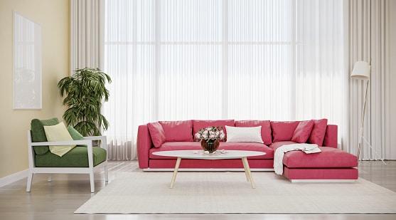Mẫu sofa màu đỏ hồng mang đến không gian phòng nổi bật, hiện đại
