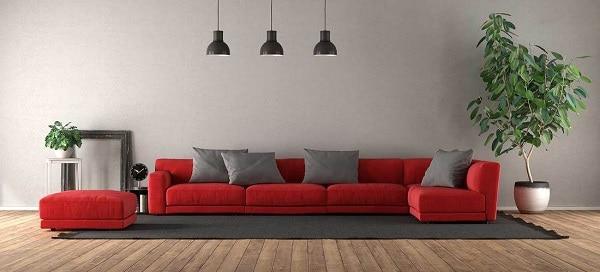 Mẫu sofa góc màu đỏ mang đến không gian rực rỡ nhưng vẫn cực kỳ thanh lịch, sang trọng