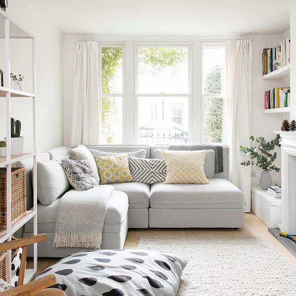 Phòng khách nhỏ là phòng khách có diện tích dưới 15m2 hoặc dưới 20m2 nhưng có một cạnh nhỏ hơn 3,5m