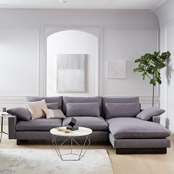 Nhờ sử dụng lớp đệm mút memory foam (nệm mút áp dụng công nghệ mới nhất hiện nay) cùng lớp vải bố dày dặn mà sofa góc L này có thể đem đến cảm giác thoải mái nhất cho người dùng