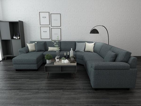 Phần góc bo cong mềm mại, tay vịn uốn cong giúp sofa vải bố trông duyên dáng và người dùng cảm thấy thoải mái hơn