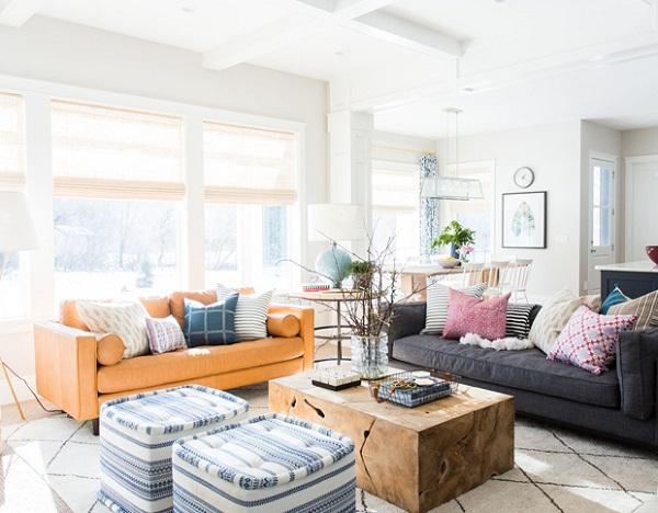 Sofa văng màu da sáng màu giúp không gian của bạn thêm nổi bật và đầy ấn tượng.