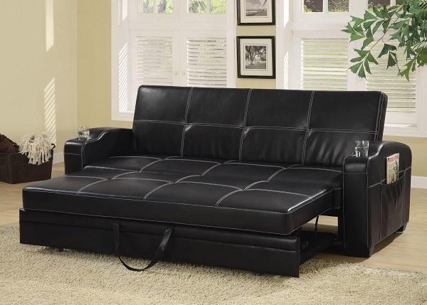 Chất liệu da cùng màu đen cá tính mang lại vẻ đẹp mạnh mẽ và sang trọng cho căn phòng.