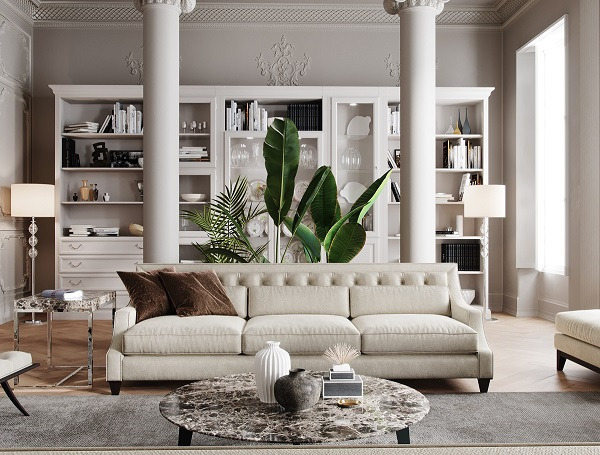 Nhiều người sẽ ái ngại việc chọn sofa màu trắng cho phòng khách nhưng với mẫu sofa này, nỗi lo sẽ được xóa tan. Bởi chất liệu vải rất dễ giặt cộng thêm thiết kế chân cao ít bám bẩn mà phòng khách chung cư thường ít bụi bẩn