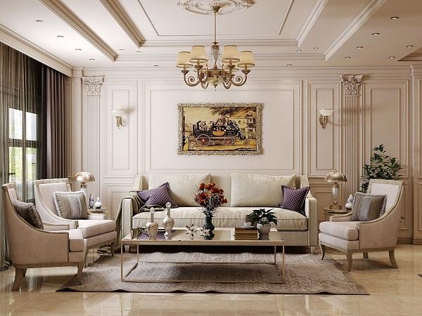 Sắc be thanh nhã, nhẹ nhàng của ghế sofa làm cho phòng khách chung cư trông thông thoáng, rộng mở hơn mà người dùng cũng luôn cảm thấy dễ chịu