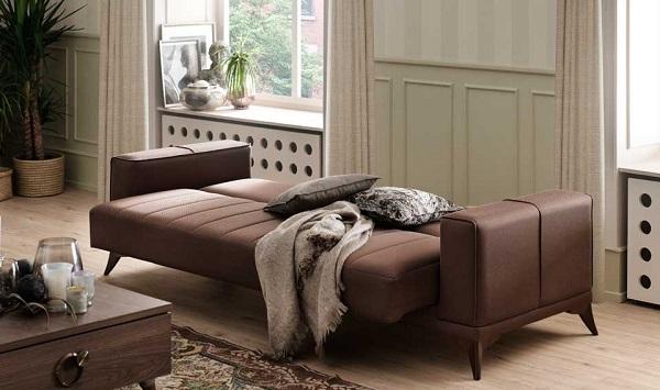 Mẫu sofa văng giường này được thiết kế linh hoạt, khi mở ra tạo thành một chiếc giường cân đối, vững chắc, êm ái cho người dùng