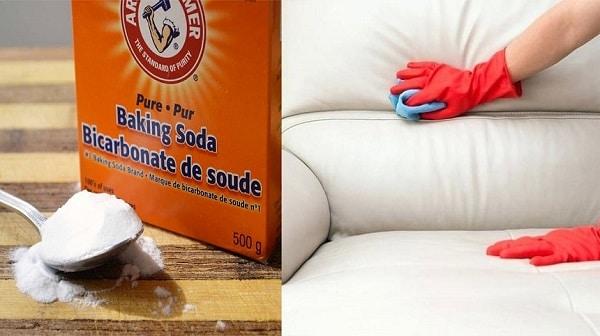 Dùng khăn ẩm đã thấm baking soda để lau sạch vết mốc trên sofa da
