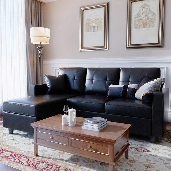 Mẫu sofa góc chữ L này sẽ giúp cho căn phòng của bạn sang trọng hơn bao giờ hết với màu đen huyền bí