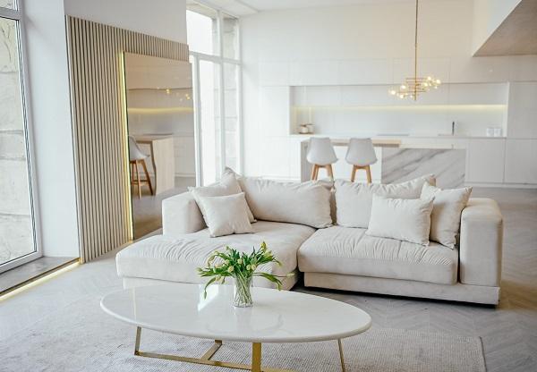 Sắc trắng sữa hòa lẫn vào không gian tươi sáng của phòng khách giúp mang đến năng lượng sống tràn trề và khả năng mở rộng không gian đến mức tối đa