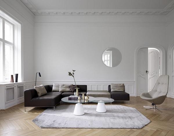 Sofa góc tay trứng có chỗ ngồi rộng, phần lưng kê vừa phải mang đến sự thoải mái và đảm bảo sự riêng tư cho người ngồi