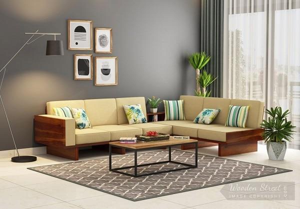 Với thiết kế linh hoạt, người dùng dễ dàng tháo rời, lắp ghép lại hai phần ghế sofa góc tay trứng theo ý muốn và và bố trí thêm một kệ sách nhỏ, bày hoa trang trí ở giữa