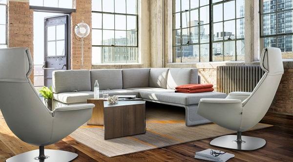 Thiết kế chữ L cùng chỗ ngồi rộng rãi mang lại không gian trò chuyện gần gũi và thân thiện cho nhân viên.